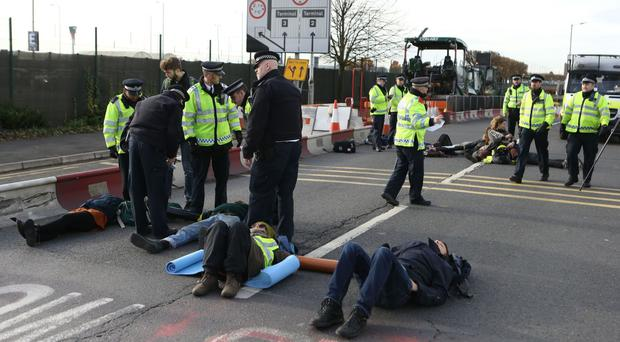 Campaigners staged a protest against Heathrow Airport expansion