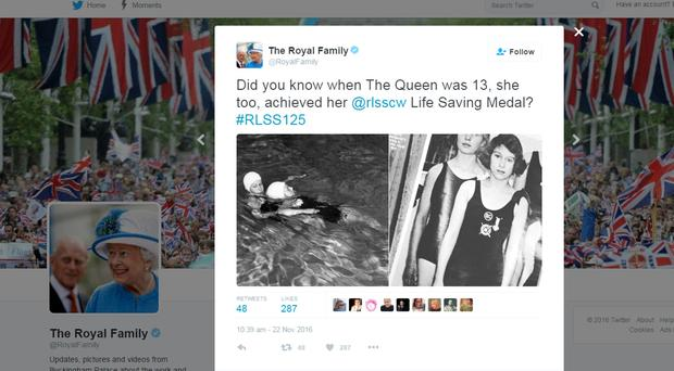 The Queen aged thirteen undertaking her Royal Life Saving Society training