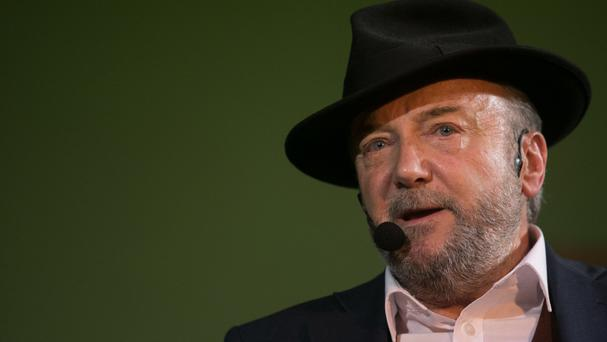 George Galloway said he was left feeling unwell but continued with his talk covered in glitter