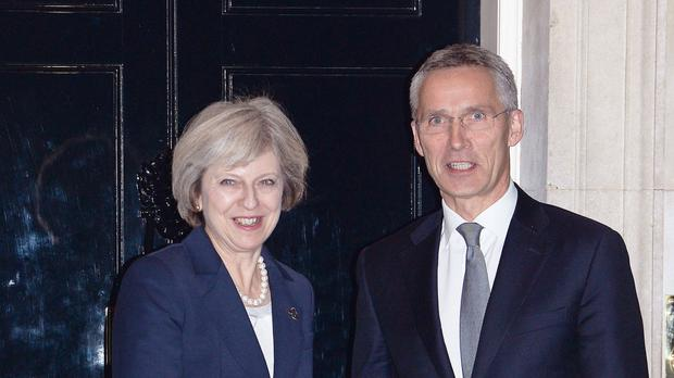 Prime Minister Theresa May welcomes Jens Stoltenberg to Downing Street