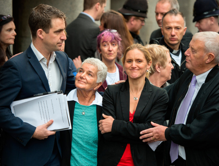 Jo Cox's husband Brendan Cox, mother Jean Leadbeater and sister Kim Leadbeater after speaking to the media following the guilty verdict in Thomas Mair's trial for the murder of the Labour MP