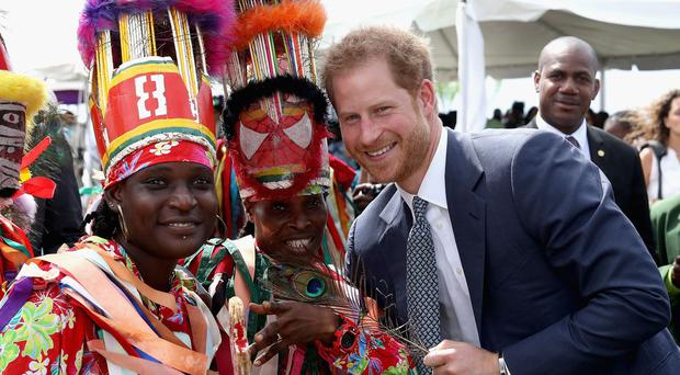 Prince Harry during a youth rally at Brimstone Hill Fortress on the island of St Kitts