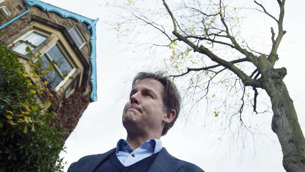 Sheffield Hallam MP Nick Clegg after contractors cut down a tree in Rustlings Road, Sheffield