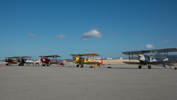 Planes prepare for the start of Vintage Air Rally across Africa at Crete (Vintage Air Rally/PA)