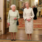 Queen Elizabeth II during a reception to celebrate the patronages of Princess Alexandra, in the year of the Princess's 80th birthday, at Buckingham Palace, London