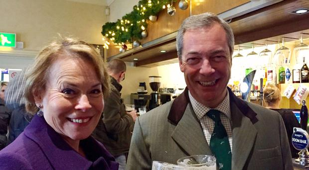 Nigel Farage and Victoria Ayling of UKIP campaigning for the Sleaford and North Hykeham by-election at the Solo Bar in Sleaford, Lincolnshire.