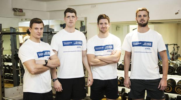 Row For James team members Toby Fenwicke-Clennell, Sam Greenly, Rory Buchanan and Harry Wentworth-Stanley as they prepare for their 3,000-mile challenge (Talisker Whisky Atlantic Challenge/PA)