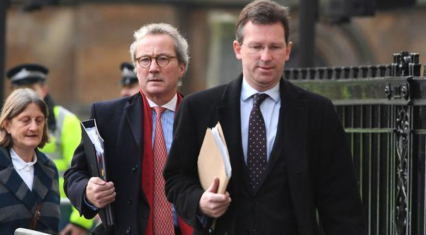 Lord Keen, left, and Attorney General Jeremy Wright arrive for the third day of the Government's appeal against a ruling that the Prime Minister must seek MPs' approval to trigger the process of taking Britain out of the EU