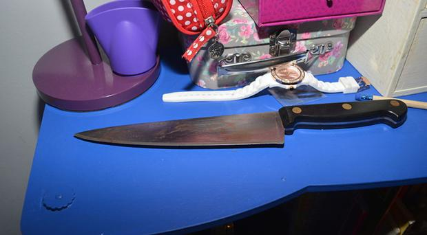 The knife used to murder Elizabeth Edwards and her 13-year-old daughter Katie.