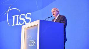 Foreign Secretary Boris Johnson speaking during the IISS Manama Dialogue Summit in Bahrain (IISS)
