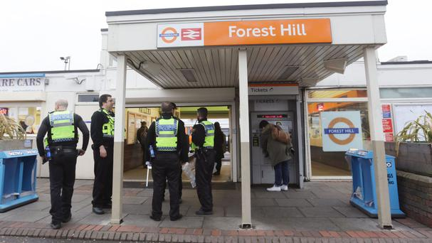 Police at Forest Hill station after the incident