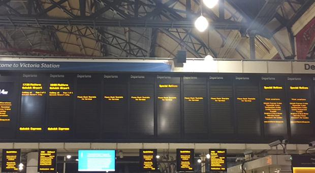 Empty departure boards at London's Victoria Station.