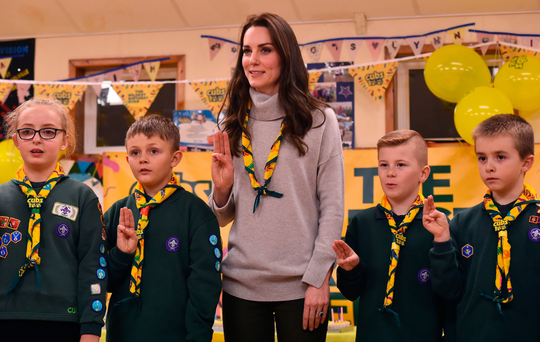 The Duchess of Cambridge makes the Scout's promise at pack meeting