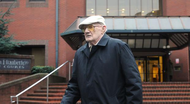 Ralph Clarke, aged 101, leaving Birmingham Crown Court