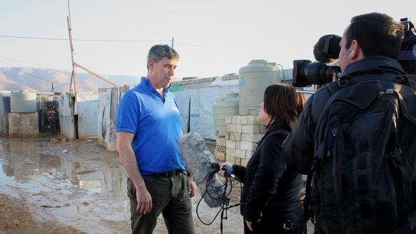 Alistair Dutton, director of Sciaf, visits a Syrian refugee camp in the Bekaa Valley, near the Syrian border