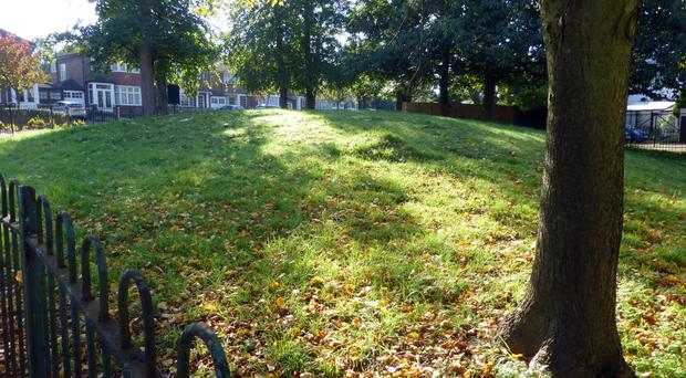 A Bronze Age funerary barrow in Shooters Hill, south-east London, the last remaining of a group of six, is one of more than 1,000 places given protected status by Historic England. (Historic England/PA)