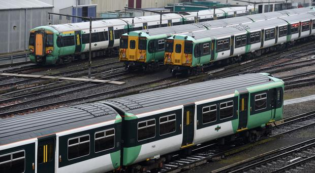 Southern trains parked at Selhurst Railway Depot in south London