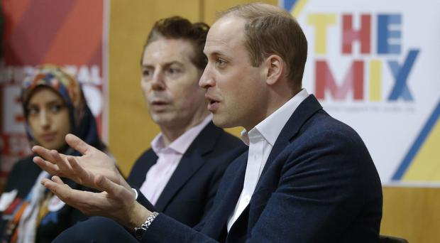 The Duke of Cambridge during a visit to The Mix in London, where he spoke with staff and and young people