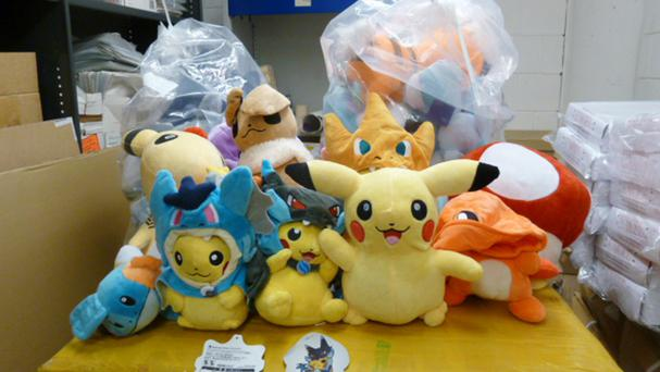 Counterfeit Pokemon goods, as festive shoppers are being warned to be on alert for fake goods after it emerged massive hauls are being intercepted at Britain's borders (Home Office)