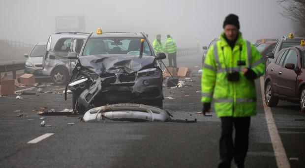Scene of the multiple car collision yesterday