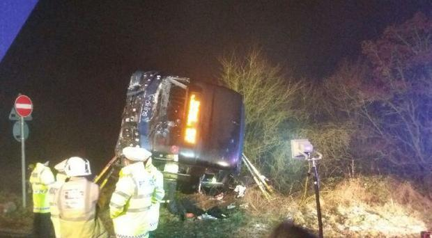 The scene of the coach crash on the M40 in Oxfordshire (Highways England/PA Wire)