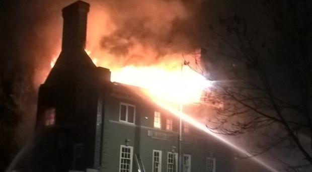 Firefighters were tackling the blaze at The Aeronaut pub in Acton (PA/London Fire Brigade)