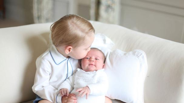 A picture taken by the Duchess of Cambridge of Prince George and Princess Charlotte on the first birthday of the princess (HRH The Duchess of Cambridge/PA)