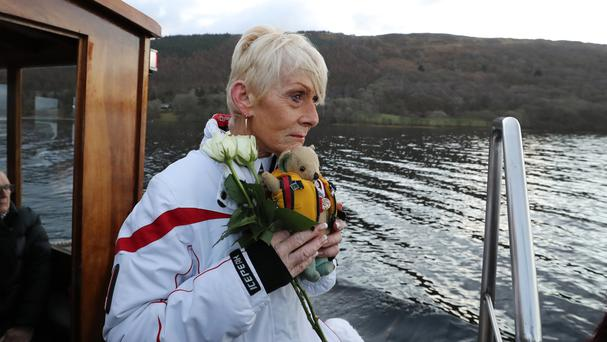 Gina Campbell, daughter of world land and water speed record holder Donald Campbell, marks the 50th anniversary of his death on Coniston Water