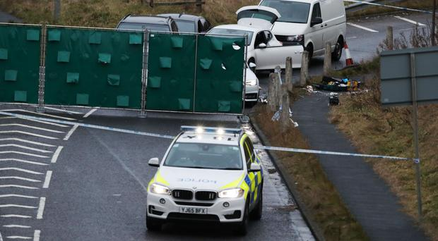 The scene near Junction 24 of the M62 in Huddersfield on Monday after a man was shot