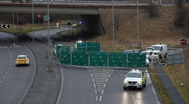 The scene of the incident near junction 24 of the M62 in Huddersfield on Monday