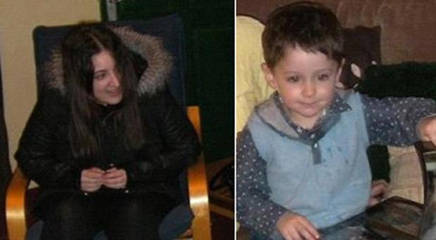 Andrew Shorrock, four, and his mother Amy