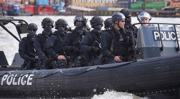 Armed Metropolitan Police officers on an exercise in London