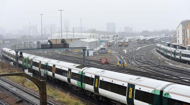 Trains parked at Selhurst Railway Depot in south London.