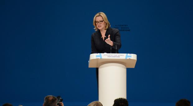 Home Secretary Amber Rudd speaking in Birmingham at the Conservative conference