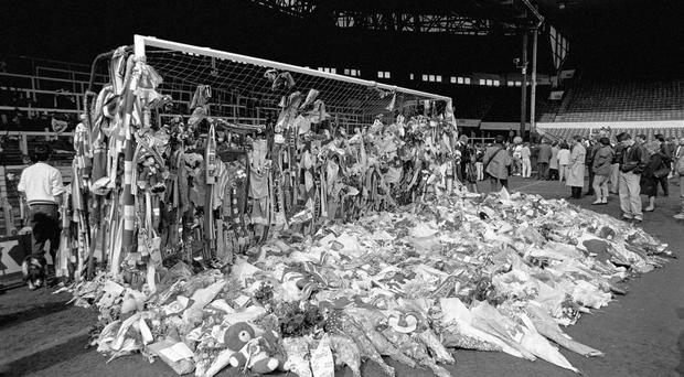 Tributes laid at Anfield, in memory of those who died at the Hillsborough disaster in 1989