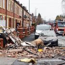 Emergency services at the scene of a house explosion in Blackley, Manchester, where five people have been injured (Greater Manchester Fire and Rescue Service/PA)