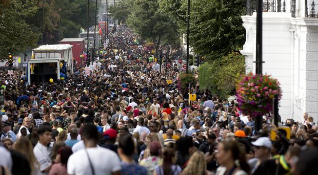 Ladbroke Grove during the Notting Hill Carnival, where