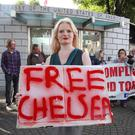 Protesters mount a Free Bradley Manning demonstration at the US Embassy in Dublin after he was sentenced to 35 years in prison for sending classified information to WikiLeaks