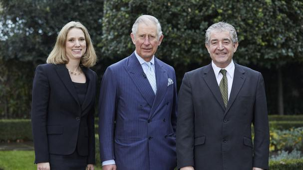 The Prince of Wales with Emily Shuckburgh and Tony Juniper, who have co-authored a Ladybird book on climate change (Penguin/PA)