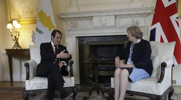 Prime Minister Theresa May hosting President of Cyprus Nicos Anastasiades at Downing Street last year