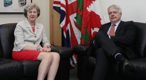 Prime Minister Theresa May with Welsh First Minister Carwyn Jones