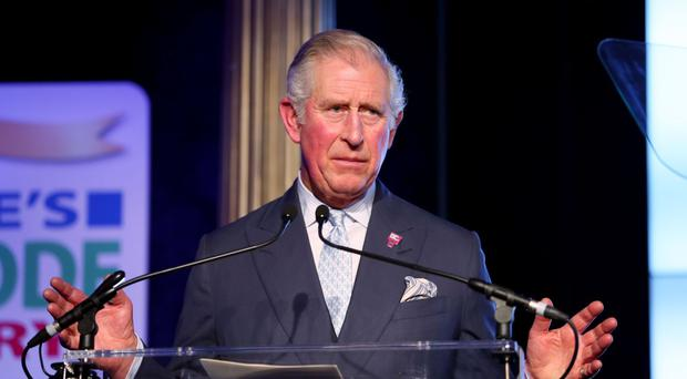 The Prince of Wales speaks during the pre-dinner reception of the People's Postcode Lottery Charity gala at Prestonfield House, Edinburgh