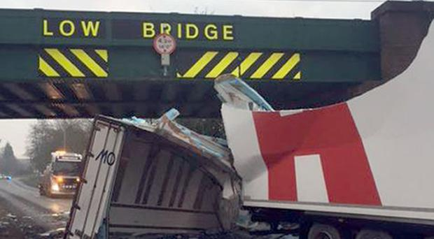 A lorry hit a low bridge on Blake Street, Birmingham, earlier this week (Network Rail/PA Wire)