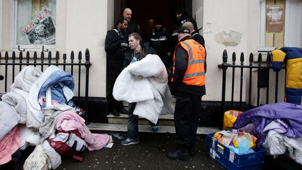 People leaving the property in central London