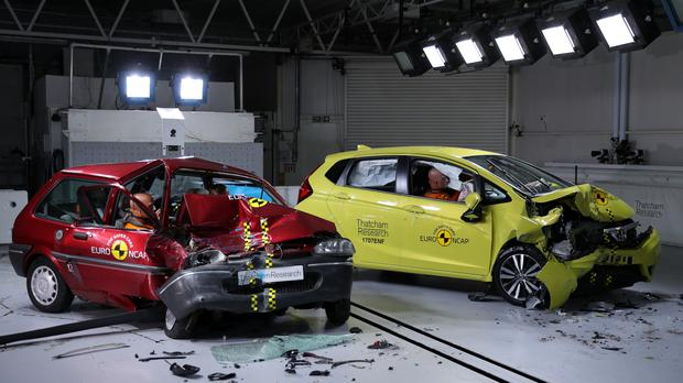 The cars after being crash-tested at Thatcham Research in Berskshire
