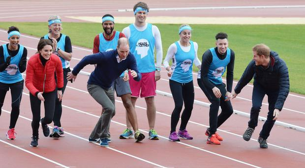 The royals take part in a race at the Queen Elizabeth Olympic Park in east London