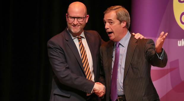 Nigel Farage, right, with Ukip leader and Stoke-on-Trent Central by-election candidate Paul Nuttall