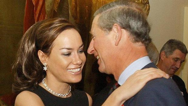 The Prince of Wales being greeted by Tara Palmer-Tomkinson during a reception at Clarence House in 2003