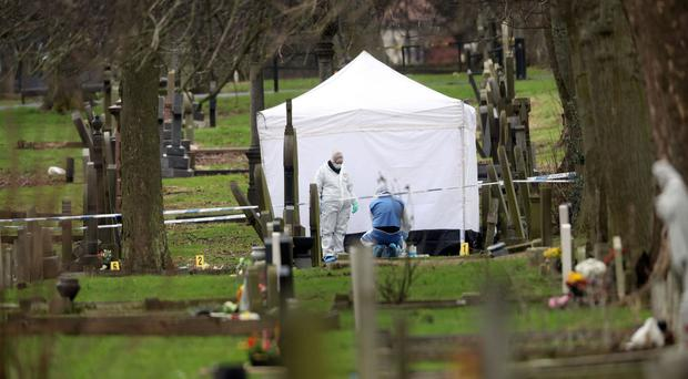 Police at the scene in Bishopwearmouth Cemetery, Sunderland