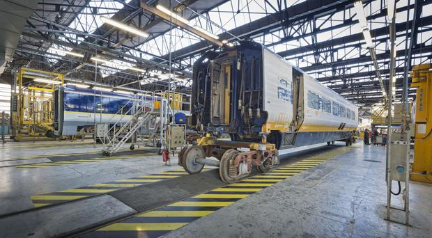 Work on a Eurostar carriage car at the Lille depot of French rail operator SNCF (Eurostar/PA)